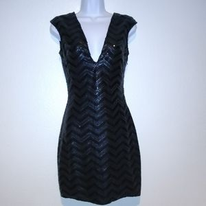 Lovers + Friends Black Sequined Party Dress